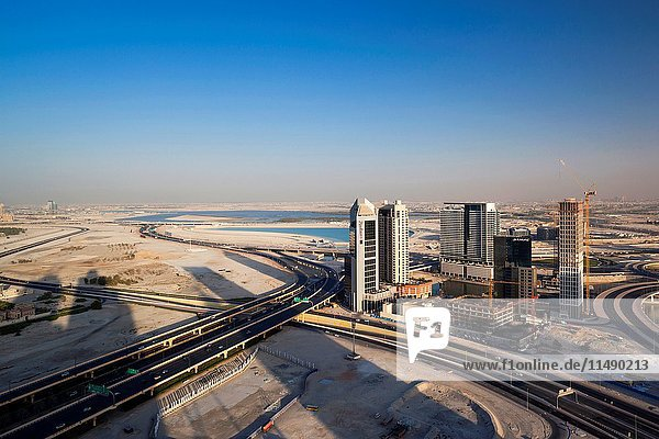 UAE  Dubai  Downtown Dubai  elevated view of the edge of Downtown area towards Ras Al Khor.