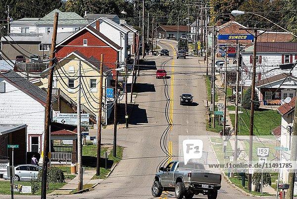 Main Street of midwestern town  Richmond  Ohio  USA.