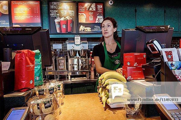 Florida  Bonita Springs  Starbucks Coffee  interior  counter  woman  barista  employee