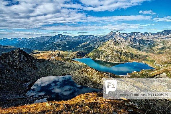 Lago Nero and Montespluga lake  Spluga Valley. Province of Sondrio  Lombardy  Italy.