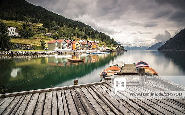 Colorful houses in Amla  Norway.