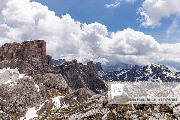 Dolomite peaks Cortina d'Ampezzo Belluno district Veneto Italy Europe.