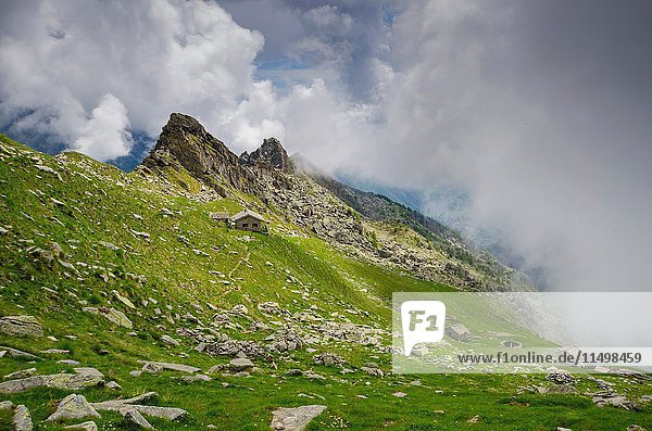 Ranger's house under the ridge (Orco Valley  Gran Paradiso National Park  Piedmont  Italy).