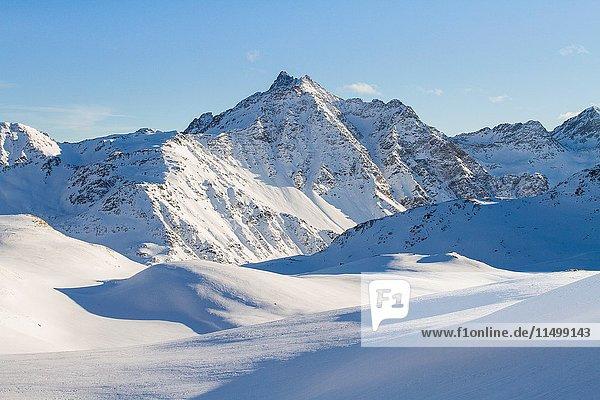 Europe  Italy  Lombardy  Sondrio. Santa Caterina Valfurva peaks winter panorama - Valtellina - Lombardy.