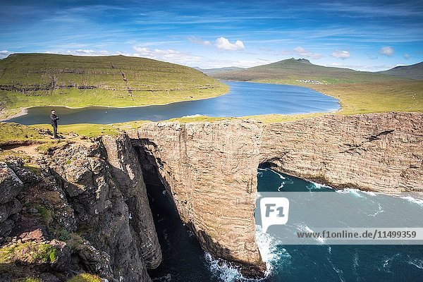 Vagar island  Faroe Islands  Denmark. Leitisvatn lake seen from the cliffs.
