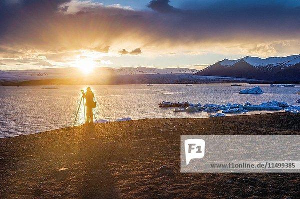 Jokulsarlon  southern Iceland. Icebergs on the glacier lagoon.