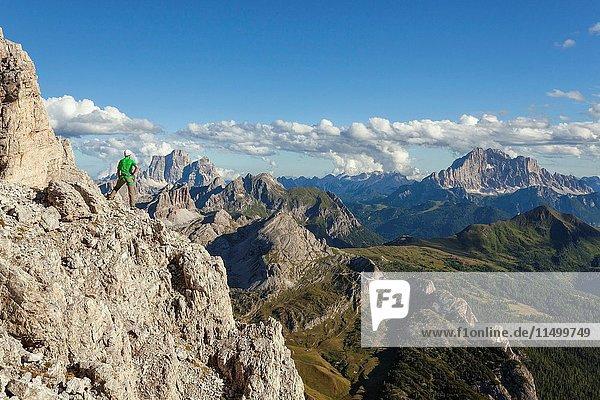 Europe  Italy  Veneto  Belluno. Hiker along the trail Kaiserjaeger  Piccolo Lagazuoi  Dolomites.
