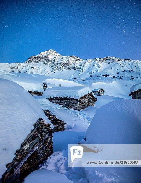 The blue hour at the Alpe Prabello  Prabello Alp  Valmalenco  Valtellina  Italy.