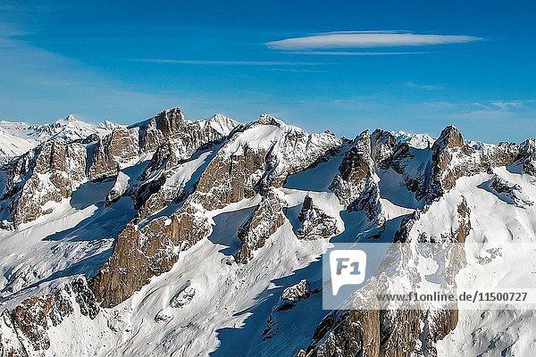 Aerial view of Pizzi Torrone and Cima di Castello in winter. Valmasino  Valtellina Lombardy  Italy Europe.