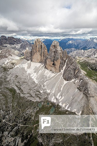 Aerial view of the Three Peaks of Lavaredo. Dolomites. Cadore. Veneto. Italy. Europe.