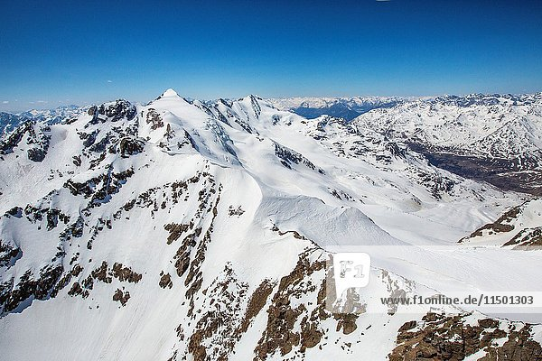 Aerial view of Forni Glacier and Peak San Matteo Valtellina Valfurva Lombardy Italy Europe.