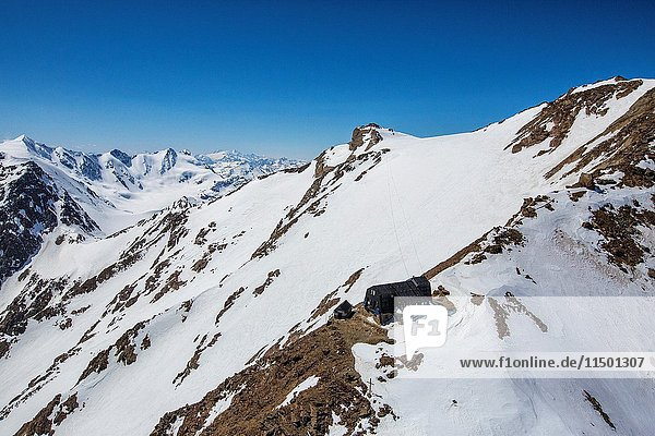 Aerial view of Forni Glacier and Refuge and Mount Vioz Valtellina Lombardy Italy Europe.