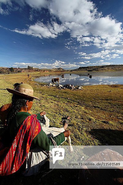 Woman weaving wool at the lagoon of Sillustani in Peru South America.