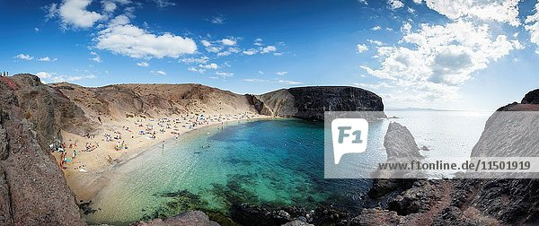 Beach of punta Papagayo. To the south of the island of Lanzarote and to the east of Playa Blanca are the secluded and deserted beaches of Punta Papagayo. All located in an almost virgin area  which is part of the protected area of Los Ajaches. Lanzarote islands  Las Palmas  Canary  Spain.
