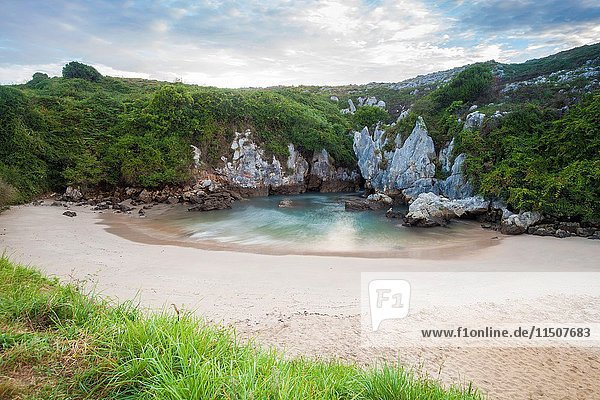The inner beach of Gulpiyuri near Naves  Asturias  Spain.