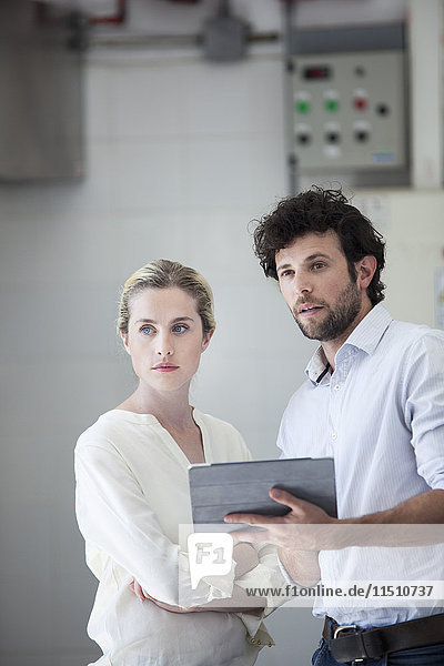 Business colleagues using digital tablet