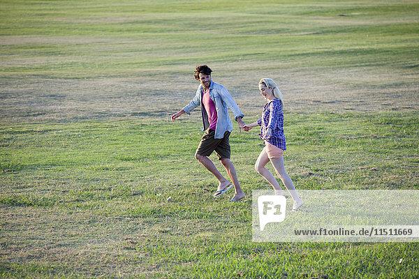 Paar läuft zusammen im Feld  hält sich an den Händen.