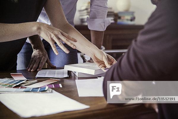 Designer zeigt dem Kunden Farbmuster an  beschnitten