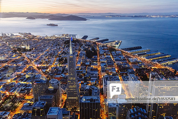 Aerial of downtown district at sunset  San Francisco  California  USA