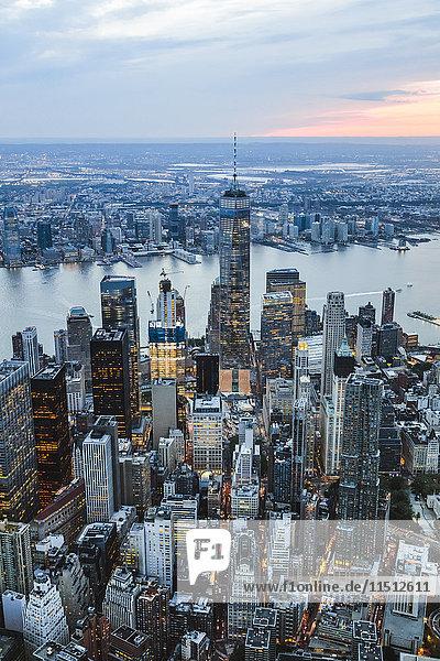 Aerial of lower Manhattan skyline at sunset  New York  USA
