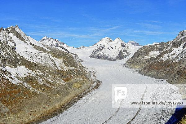 Aletsch glacier  Monch  4107m  and Trugbe  Jungfrau-Aletsch  UNESCO World Heritage Site  Valais  Swiss Alps  Switzerland  Europe