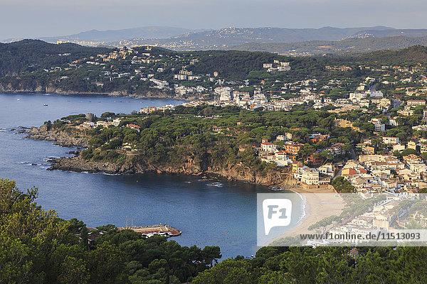 Llafranc and Calella de Palafrugell  fabulous elevated view from Cap de Sant Sebastia  Costa Brava  Girona  Catalonia  Spain  Europe