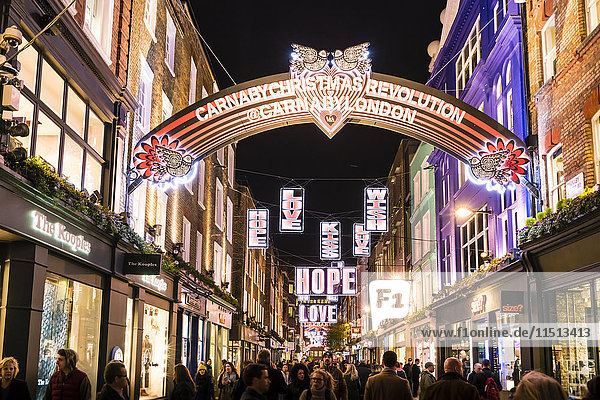 Alternative festive Christmas lights in Carnaby Street  Soho  London  England  United Kingdom  Europe