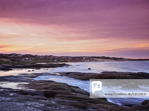 Sunset over Punta del Diablo  Rocha Department  Uruguay  South America