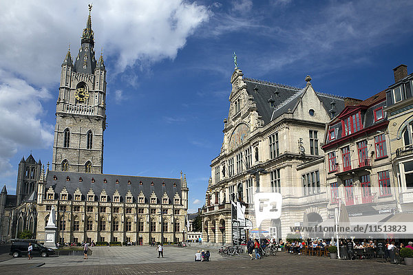 Belfry Tower in Saint Bavo's square  city centre  Ghent  West Flanders  Belgium  Europe