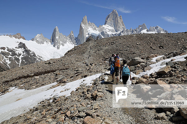 View of Mount Fitz Roy on Laguna de Los Tres trail  El Chalten  Patagonia  Argentina  South America