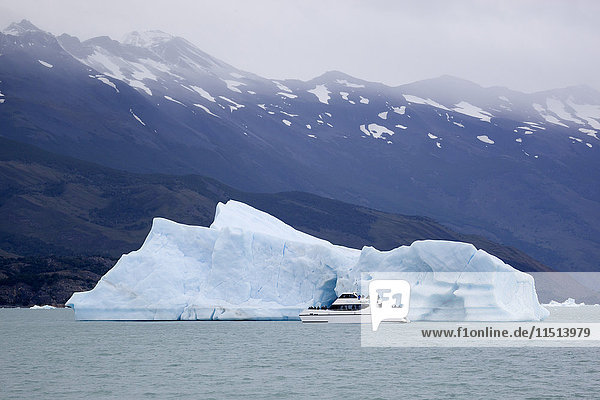 Tourist boat and iceberg near Upsala Glacier on Lago Argentino  El Calafate  Parque Nacional Los Glaciares  UNESCO World Heritage Site  Patagonia  Argentina  South America