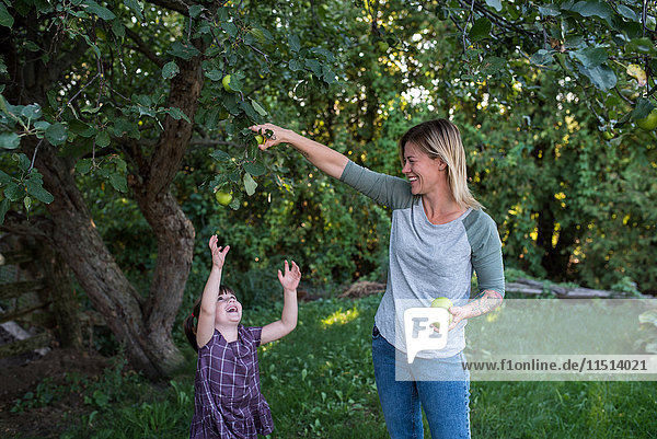 Mother helping daughter reach apple on tree