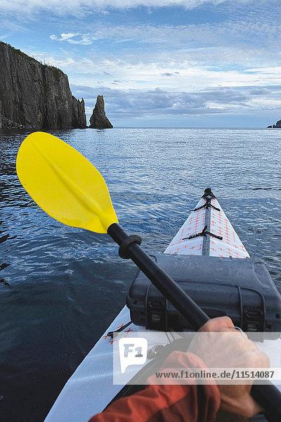 Point of view image of kayaker sea kayaking  Trinity Bay  Newfoundland  Canada