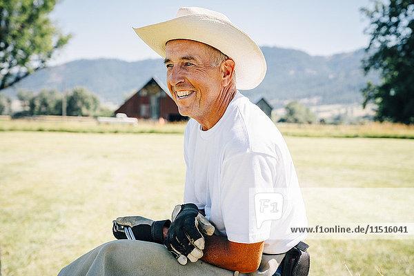 Portrait of smiling Caucasian farmer