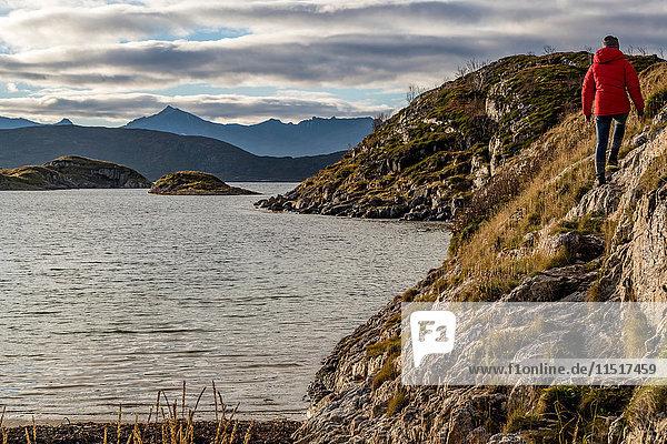 Frau wandert im Herbst auf der Insel Sommaroy  Arktis Norwegen
