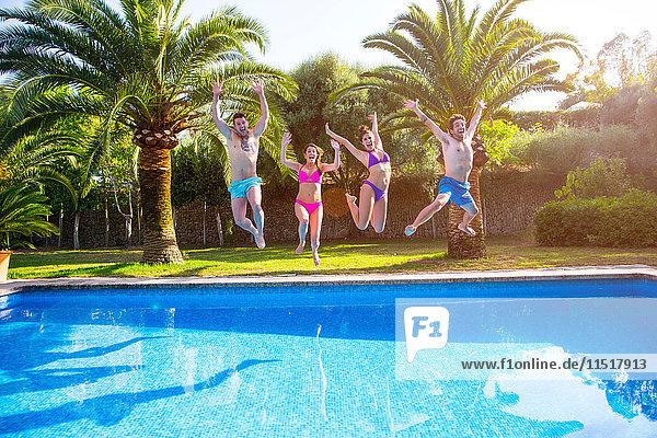 Freunde springen im Schwimmbad