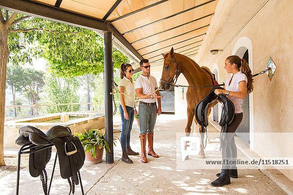 Weiblicher Stallknecht trägt Sattel für Pferd in ländlichen Ställen