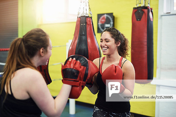 Female boxer training  punching teammates punch mitt