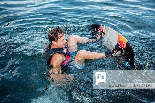 Wasserskier im Lago Maggiore  Verbania  Piemont  Italien