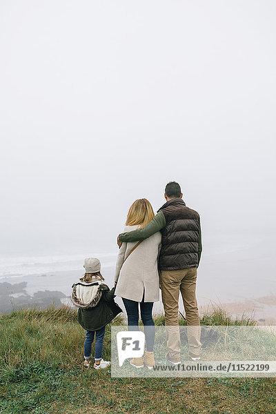 Familie mit Hund an der Küste an einem nebligen Wintertag mit Blick auf die Landschaft