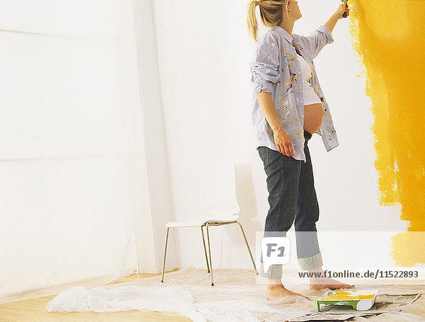 Schwangere Frau  die eine Wand malt Schwangere Frau, die eine Wand malt