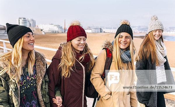 Vier Freunde in Strandnähe