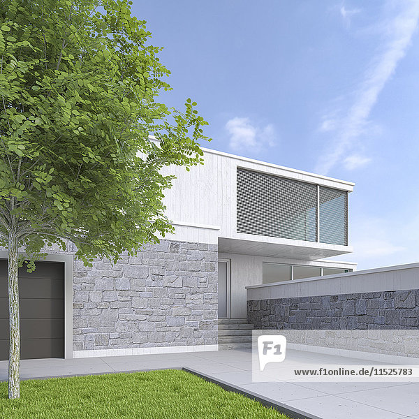Modernes Einfamilienhaus  3D-Rendering