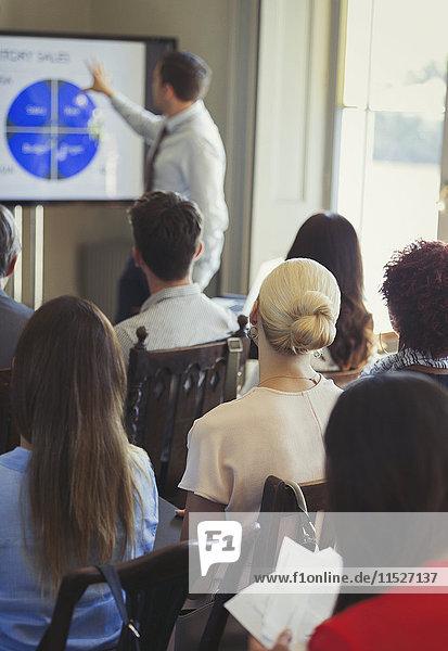 Geschäftsleute im Publikum beobachten den Geschäftsmann  der die Konferenzpräsentation auf dem Fernsehschirm leitet.
