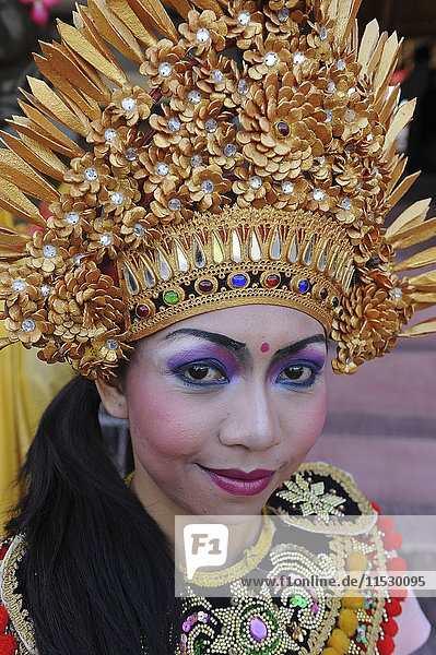 Indonesia  Bali  Denpasar  Portrait  Dancer Balinese Barong show. An exorcism dance that represents the personification of the forces of good fighting the evil Rangda.