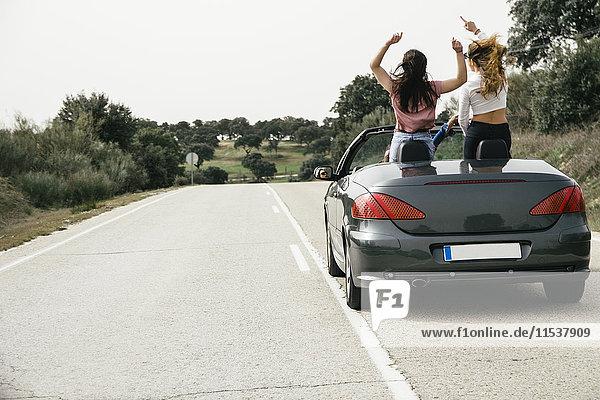 Frauen haben Spaß in einem Cabriolet auf der Landstraße