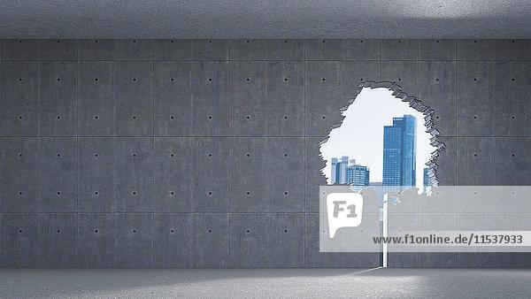 3D-Rendering  Fenster in Baumform  Betonwand  Hochhäuser