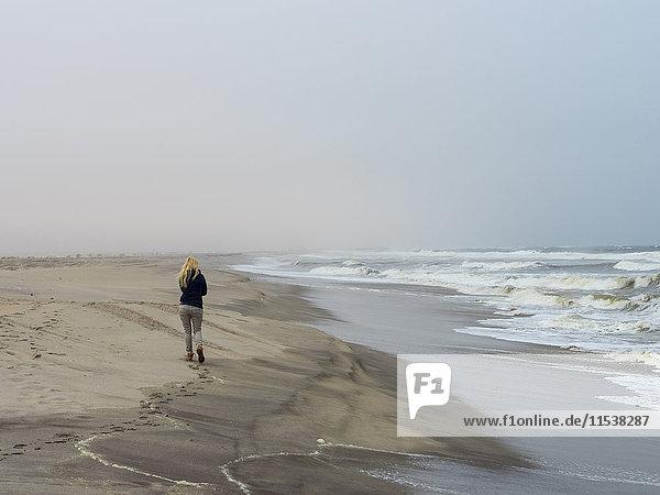 Namibia  Namib Wüste  Frau am Strand  eiskalt und stürmisch