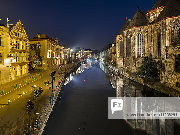 Belgium  Ghent  old town with St. Michaelis Church