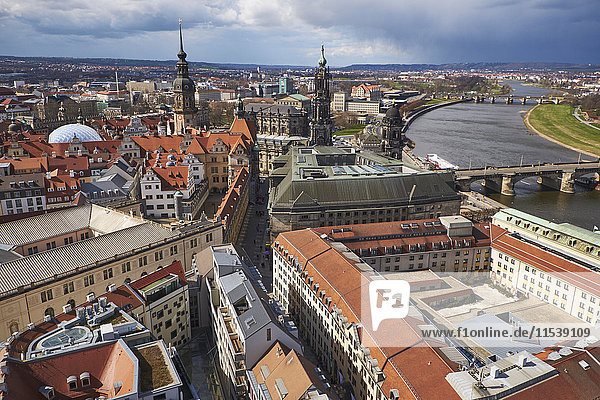 Germany  Dresden  Tower of Dresden Castle  Hausmann Tower and Cathedral  Elbe river